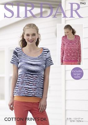 Sirdar Cotton Prints DK - 7943 Sweaters Knitting Pattern